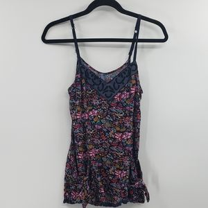 Free people navy floral tank. Women's size 2